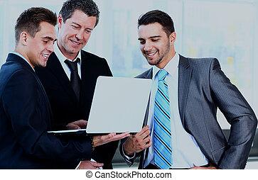 réunion affaires, -, directeur, discuter, travail, à, sien, collègues.