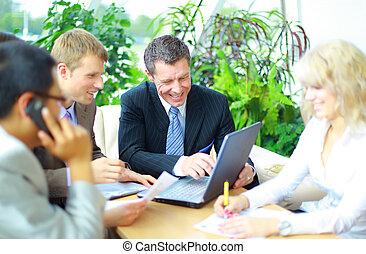 réunion affaires, -, directeur, discuter, travail, à, sien, collègues