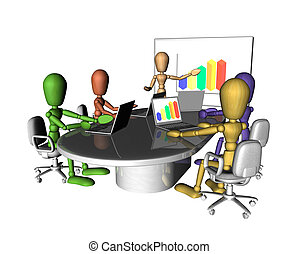 réunion affaires, gens, présentation