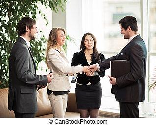 réunion affaires, poignée main, associés