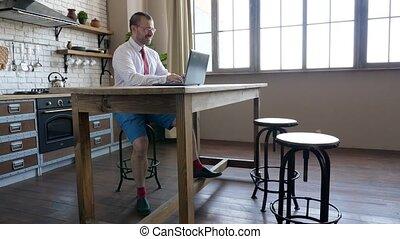 réunion affaires, travail, avoir, vidéo, éloigné, communique...