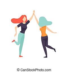 réunion, amis, femmes heureuses, illustration, élevé, femme, amitié, deux, cinq, vecteur, donner