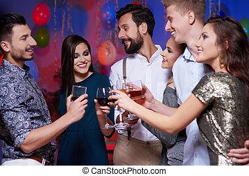 réunion, amis, groupe, avoir, fête