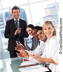 réunion, applaudir, equipe affaires