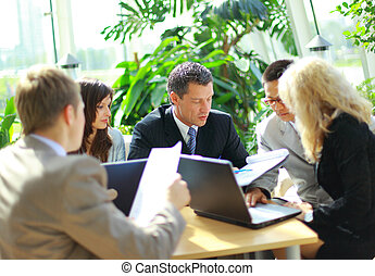 réunion, avoir,  Business, équipe