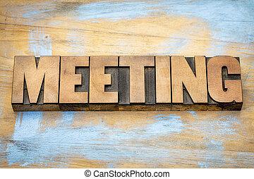 réunion, bois, mot, letterpress, type