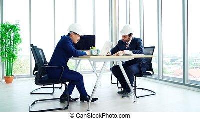 réunion bureau, architecte, ingénieur, table