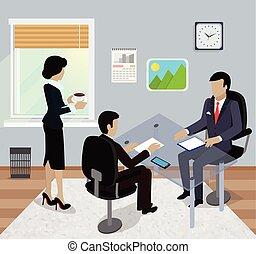réunion bureau, isométrique, business, conception, plat