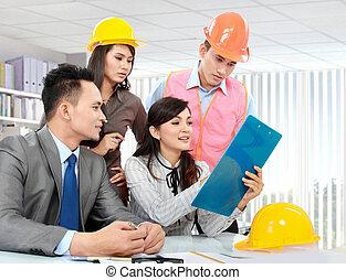réunion, bureau, professionnels