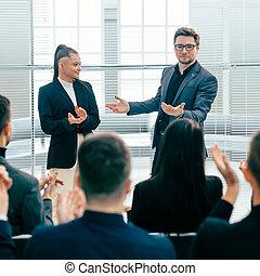 réunion, business, applaudir, travail équipe
