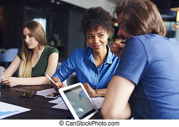 réunion, business, jeunes adultes, avoir, collègues