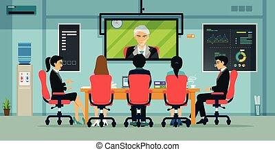 réunion, business, visioconférence