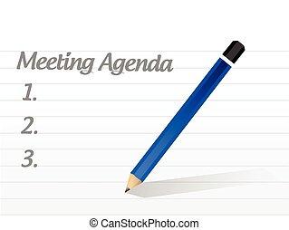 réunion, conception, ordre du jour, illustration