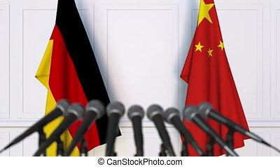 réunion conférence, drapeaux, international, presse, porcelaine, allemagne, ou, négociations