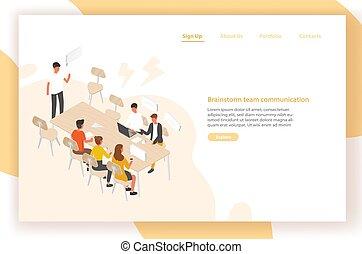 réunion, conversation, chaque, groupe, page, équipe, ouvriers, vecteur, isométrique, communication, bureau, séance, gens, discussion, travail, table, illustration., gabarit, ou, autre., atterrissage, brainstorm.