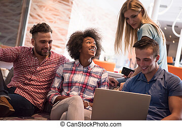 réunion, démarrage, multiethnic, equipe affaires