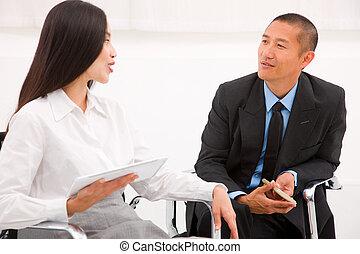 réunion, deux, businesspeople
