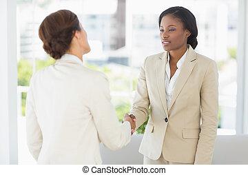 réunion, femmes affaires, mains, deux, secousse