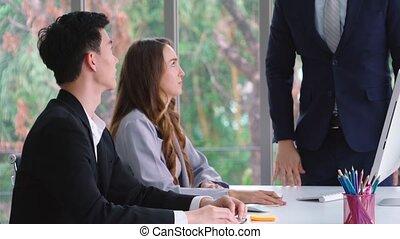 réunion, groupe, business, travail, problème, personne, conflit, fâché