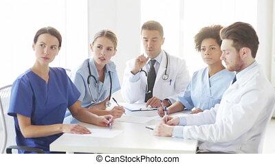 réunion, hôpital, groupe, séminaire, médecins