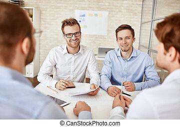 réunion, hommes affaires