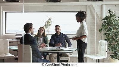 réunion, idée génie, equipe affaires, projet, constitué, ...