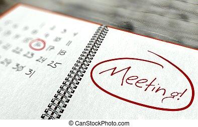réunion, important, jour, calendrier, concept