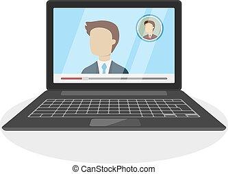 réunion, laptop.