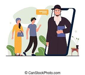 réunion ligne, synagogue, homme, rabbin, synagogue, ...