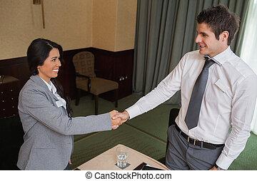 réunion, mains secouer, professionnels
