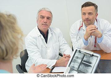 réunion, monde médical, groupe, bureau, médecins