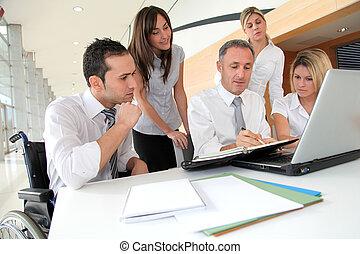 réunion, ouvriers, groupe, bureau, business