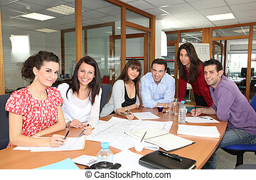 réunion personnel, dans, une, bureau