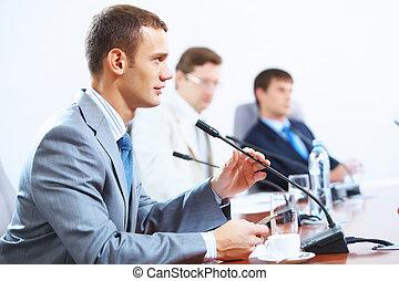 réunion, trois, businesspeople