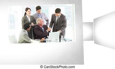 réunions, animation, business, 3d