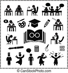 réussi, étude, symbole