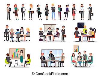 réussi, affiche, réunions, professionnels