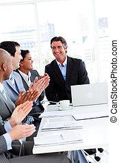 réussi, applaudir, équipe, professionnels