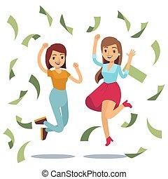 réussi, argent, housewifes, sauter, rain., femmes heureuses