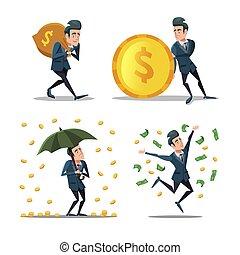 réussi, argent, illustration, vecteur, rain., riche, homme affaires, dessin animé, man.