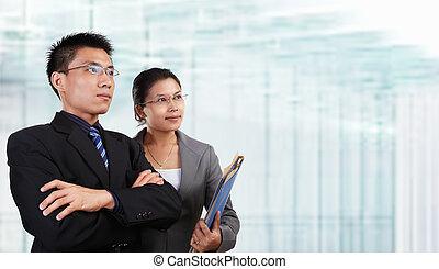 réussi, asiatique, deux, professionnels