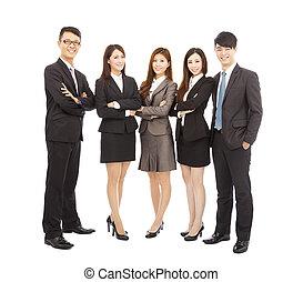 réussi, asiatique, jeune, equipe affaires, debout, ensemble