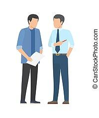 réussi, associés, discuter, financier