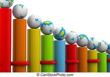réussi, carboniser,  global, barre,  Business