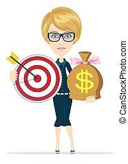 réussi, cible, concept, investissement financier