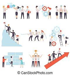 réussi, collègues, bureau, fonctionnement, ensemble, association, ensemble, équipe, collaboration, vecteur, illustration, coopération, business