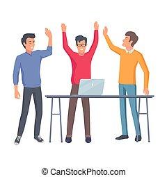réussi, collaboration, démarrage, illustration.