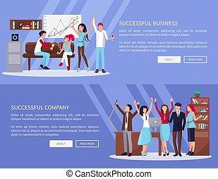 réussi, compagnie, vecteur, illustration affaires