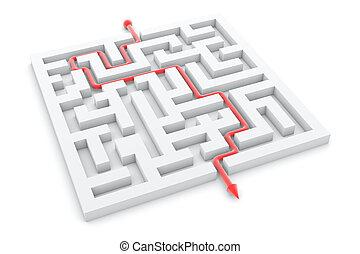 réussi, complété, illustration, piste, flèche, labyrinthe