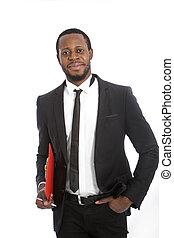 réussi, confiant, africaine, homme affaires